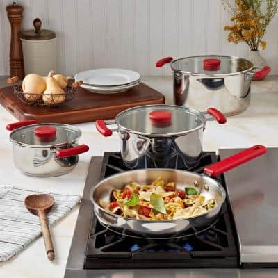Stax 7-Piece Red Stainless Steel Stackable Cookware Set