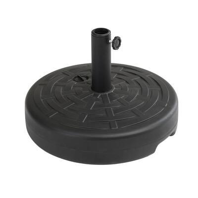 4.63 lbs. Round Plastic Free Standing Patio Umbrella Base in Black
