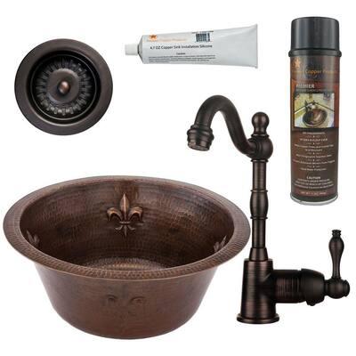 Bronze 16 Gauge Copper 16 in. Dual Mount Round Fleur De Lis Bar Sink with Faucet and Strainer Drain