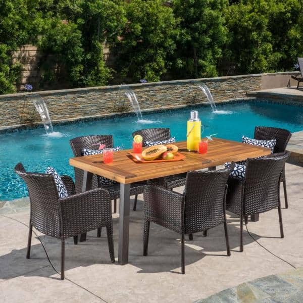 Noble House Denaya Natural Stained With, Rustic Patio Furniture Set