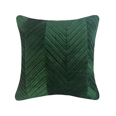Emerald Chevron Velvet 20 in. X 20 in. Throw Pillow