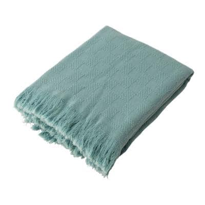 Olive Green Checked Cotton Woven Throw