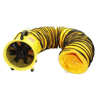 8 in. 2 Speed High-Velocity Portable Confined Space Ventilator with Hose