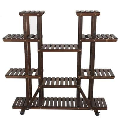 9-Tier Wood Shelf Mobile Plant Stand
