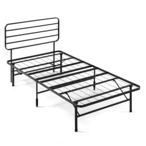 SmartBase Black Twin Metal Bed Frame with Headboard
