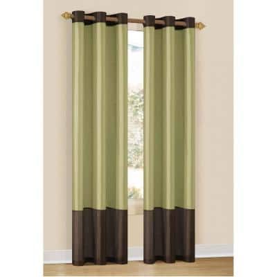 Sage Striped Thermal Blackout Curtain - 37 in. W x 84 in. L (Set of 2)
