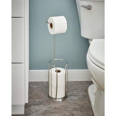 Freestanding Toilet Paper Holder with Reserve, Brushed Nickel