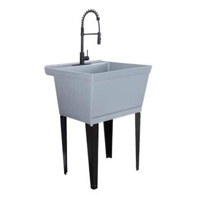 22.875 in. x 23.5 in. Thermoplastic Floor Mount Utility Sink in Grey with High-Arc Matte Black Coil Pull-Down Faucet