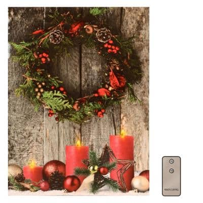 Battery Operated LED Lighted Wall Art - Wreath and Candles