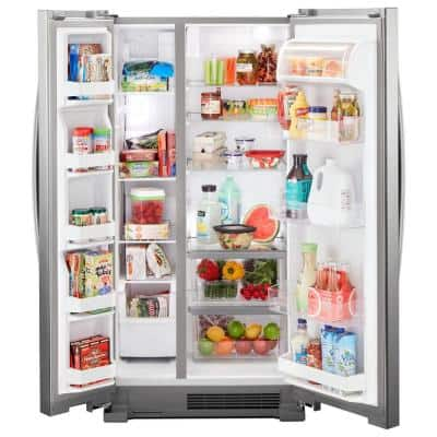22 cu. Ft. Side by Side Refrigerator in Monochromatic Stainless Steel