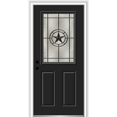 Elegant Star 36 in. x 80 in. 2-Panel Right-Hand 1/2 Lite Decorative Glass Black Painted Fiberglass Prehung Front Door