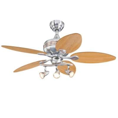 Xavier 44 in. LED Brushed Nickel with Copper Accents Ceiling Fan with Light Kit