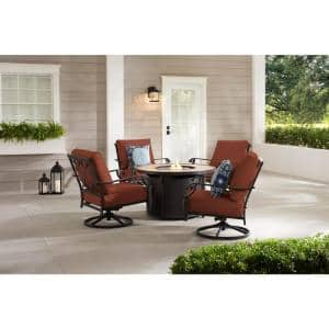 Bowbridge 5-Piece Black Steel Outdoor Patio Fire Pit Seating Set with CushionGuard Quarry Red Cushions