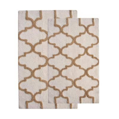 34 in. x 21 in. and 36 in. x 24 in. 2-Piece Bath Rug Set in White and Beige