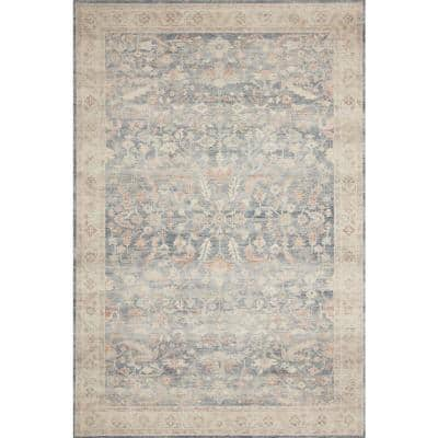 Autumn Blue Multi-Colored 8 ft. x 10 ft. Traditional Border Area Rug