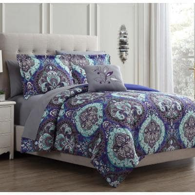 8 Piece Printed Reversible Cathedral Queen Microfiber Complete Bedding Set