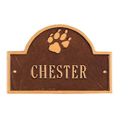 Pet Paw Mini Arch Antique Copper One Line Wall Marker