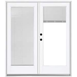 60 in. x 80 in. Fiberglass Smooth White Right-Hand Inswing Hinged Patio Door with Built in Blinds