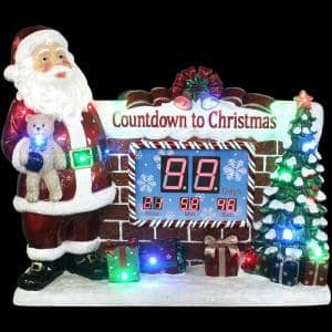 33.5 in. Red Christmas Musical Countdown Clock with Santa, Tree and Presents with Long-Lasting LED Lights