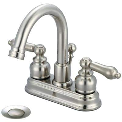 Brentwood 4 in. Centerset Double Handle Swivel Spout Bathroom Faucet with Brass Drain in Brushed Nickel