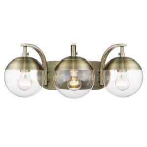 Dixon 12 in. 3-Light Aged Brass with Clear Glass and Aged Brass Cap Bath Vanity Light