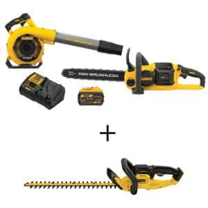 60-Volt MAX Cordless FLEXVOLT Chainsaw with Blower Combo Kit (2-Tool) with 22 in. 20-Volt Hedge Trimmer(Tool-Only)