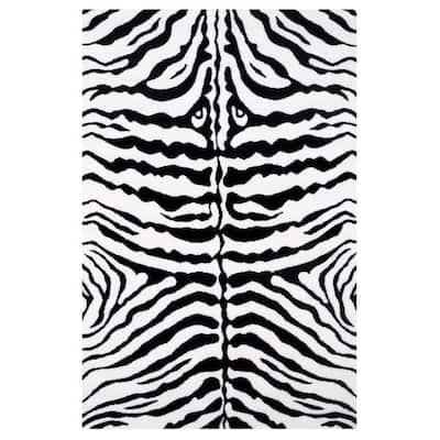 Fun Time Zebra Skin White and Black 3 ft. x 5 ft. Area Rug