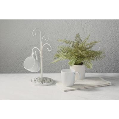 4-Hook White Mug Tree
