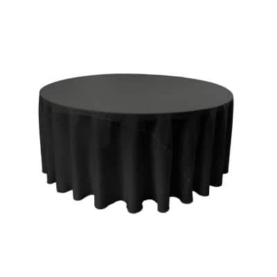 120 in. Black Polyester Poplin Round Tablecloth