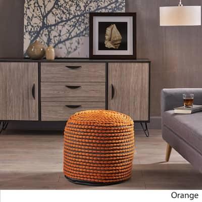 Conney Orange Fabric Round Outdoor Ottoman Pouf