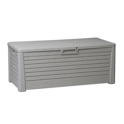 145 Gal. 58 in. x 28 in. Gray Florida Outdoor Deck Bin Storage Box Bench Waterproof