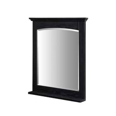 Kent 28 in. W x 32 in. L Wall Mount Mirror in Brown Ebony