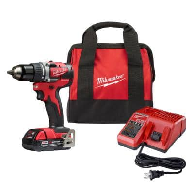 M18 18-Volt Lithium-Ion Brushless Cordless 1/2 in. Compact Drill/Driver with (1) 2.0 Ah Battery, Charger and Tool Bag