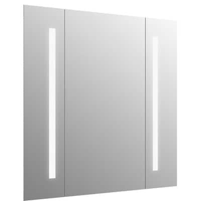 34 in. W x 33 in. H Frameless Rectangular LED Light Bathroom Vanity Mirror