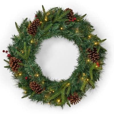 24 in. Green Battery Operated Pre-Lit Warm White LED Mixed Pine Artificial Christmas Wreath with Pine Cones and Berries