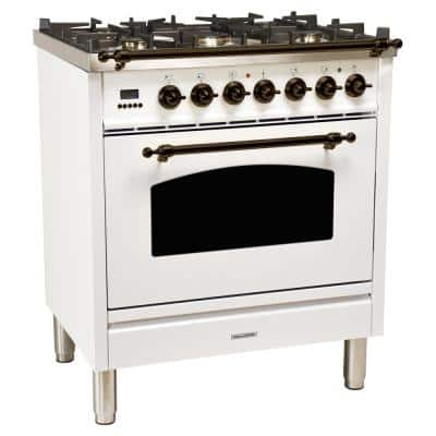 30 in. 3.0 cu. ft. Single Oven Dual Fuel Italian Range with True Convection, 5 Burners, LP Gas, Bronze Trim in White