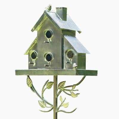 76 in. Tall Galvanized Condo Birdhouse Stake with Short Chimney Newtown