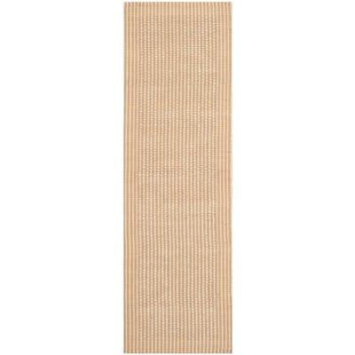 Natural Fiber Ivory/Beige 3 ft. x 8 ft. Border Runner Rug
