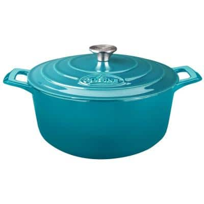 PRO Range 5 qt. Round Porcelain-Enameled Cast Iron Casserole Dish in High Gloss Teal with Lid