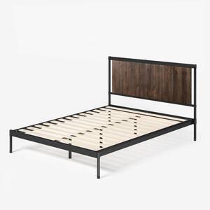 Wesley Brown Queen Metal and Wood Platform Bed
