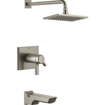 Pivotal TempAssure H2Okinetic 1-Handle Wall-Mount Tub and Shower Trim Kit in Stainless (Valve Not Included)