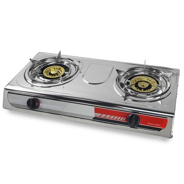 Double Portable Burner Cast Iron Propane LPG Gas Stove Outdoor Camping Cooker