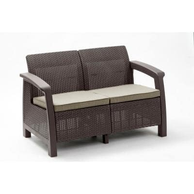 Bahamas Brown All-Weather Resin Patio Loveseat With Warm Taupe Cushions