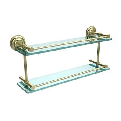 Que New 22 in. L x 8 in. H x 5 in. W 2-Tier Clear Glass Bathroom Shelf with Gallery Rail in Satin Brass