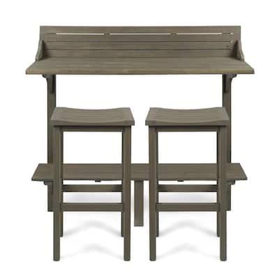 Gray 3-Piece Wood Rectangular Outdoor Balcony Bar Set