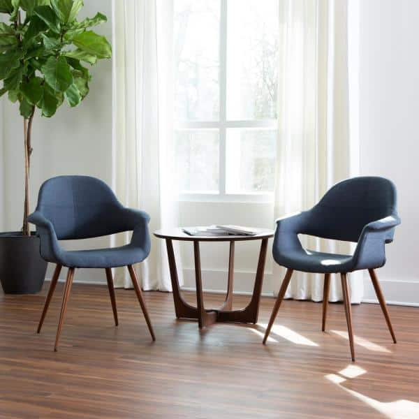 OFM Set of 2 Mid-Century Modern Fabric Accent Dining//Side Chair with Arms Blue