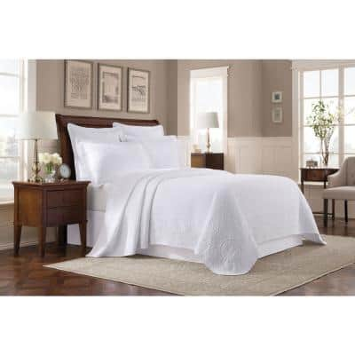 Williamsburg Abby White Solid Twin Coverlet