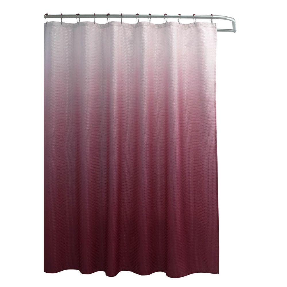 creative home ideas ombre red 70 in x 72 in texture printed shower curtain set with beaded rings ymc002741 the home depot