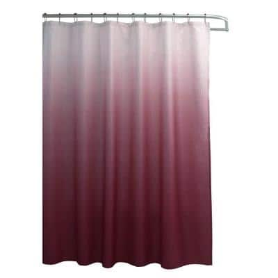 Ombre Red 70 in. x 72 in. Texture Printed Shower Curtain Set with Beaded Rings
