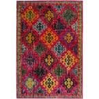 Monaco Fuchsia/Multi 6 ft. 7 in. x 9 ft. 2 in. Area Rug